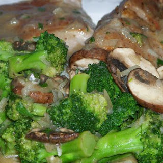 Tender Roasted Pork Chops and Broccoli With Mushroom Tarragon Sauce