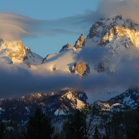 Cloudy Tetons by Michael Spain - Landscapes Mountains & Hills