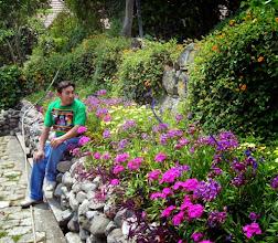 Photo: Victor with flowers at Hotel Atitlan on Lake Atitlan.