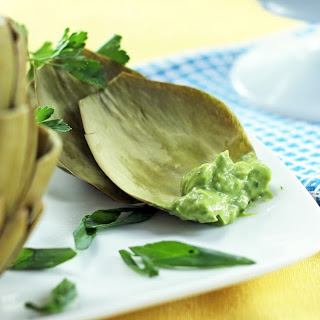 Artichokes with Avocado-Anchovy Dip