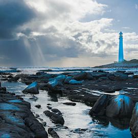 Soetwater lighthouse by Jason Elphick - Landscapes Sunsets & Sunrises ( winter, sunset, lighthouse, cloud, wet, seascape,  )