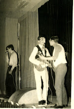 Photo: Febrero de 1968, fiestas del Colegio. Enrique Muñiz Iglesias, Andrés Martínez Trapiello y mi hermano Andres Cortés Aranaz adtuando en el Teatro del colegio, ya como ex-alumnos.