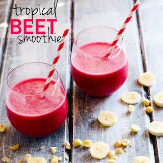 Tropical Beet Smoothie with Mac Nuts {The Endurance Booster Drink}.