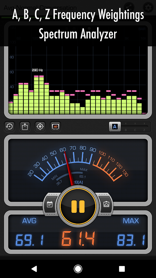 Decibel 10: dBA Noise Meter, FFT Spectrum Analyzer- screenshot