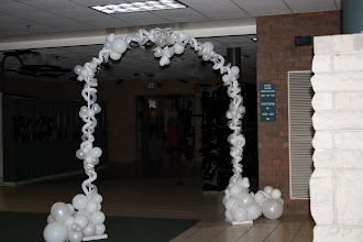 Photo: Forrest Hills Father, Daughter dance, Angles theme. Slightly smaller arch greeted couples. ~ Balloons By Turnadaisy ~ artwithballoons.com Grand Rapids, Mi.
