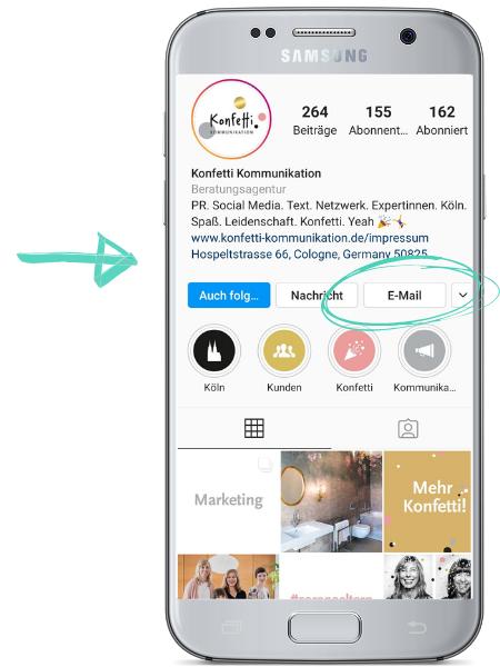 Weitere Kontaktmöglichkeiten auf Instagram