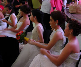 Photo: Models showing off dresses available during the 3 day only Wedding Extravaganza at the mall.