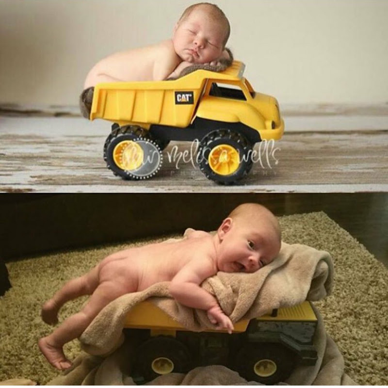 Sweet Baby In A Toy Truck