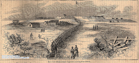 """Photo: """"The Fifth Rhode Island regiment entering Fort Macon."""" Harpers Weekly, May 17, l862, page 316."""