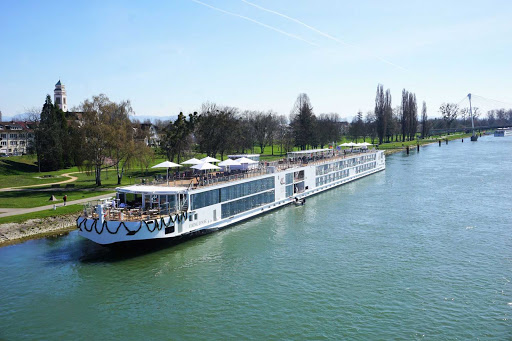 Exterior shot of Viking Einar docked on the Viking River near Strasbourg, France.