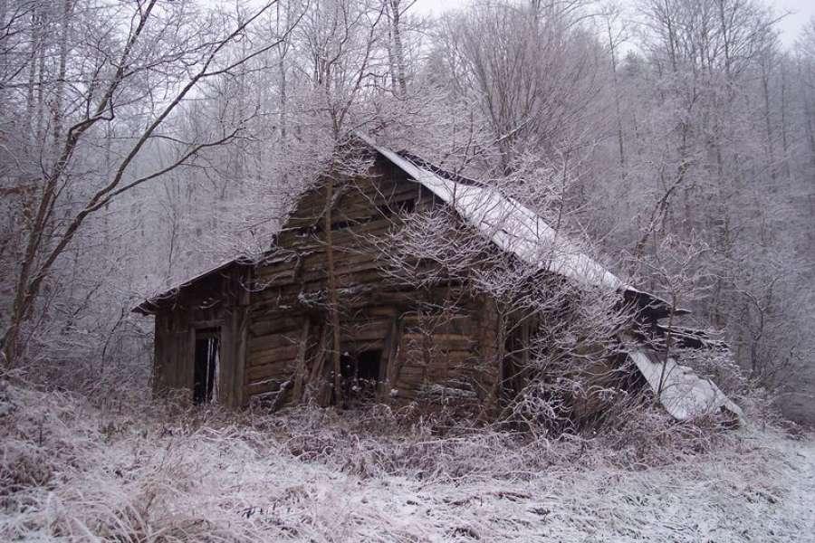 Разрушенный дом в зимнем лесу