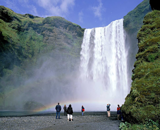 Iceland-Skogafoss.jpg - Gotta see this: Skogafoss waterfall, on the south coast of Iceland, is 82 feet high and 197 wide.