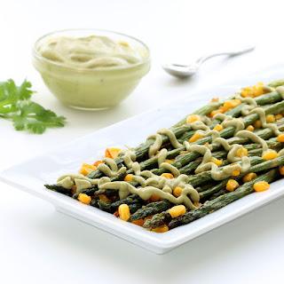 Roasted Asparagus with Vegan Avocado Cream (Gluten-free, Plant-based)