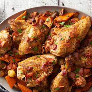 Slow-Cooker Savory Roast Chicken and Vegetables.