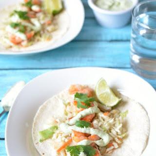 Spicy Shrimp Tacos with Avocado Sauce