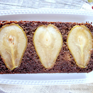 Upside Down Gingerbread Pear Cake