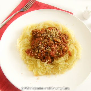 Spaghetti Squash with Lentils and Mushroom Pasta sauce