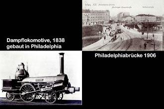 Photo: Für die Südbahn wurde in Philadelphia, USA, eine Dampflokomotive bestellt, sie wurde hier in Meidling angeliefert.  Bald darauf trug ein Gasthaus auf der Meidlinger Hauptstraße diesen Namen.  Als die erste Brücke 1841 gebaut wurde, wurde sie im Volksmund Philadelphiabrücke genannt. Die heutige Brücke ist bereits die vierte.