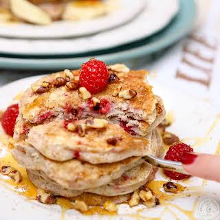 Vegan Flax Raspberry Pancakes.