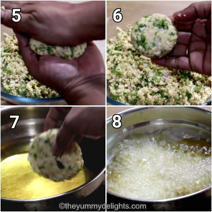 step by step collage of frying the masala vada