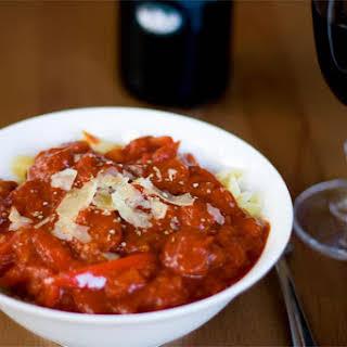 Spanish Pasta With Chorizo and Tomato Sauce.