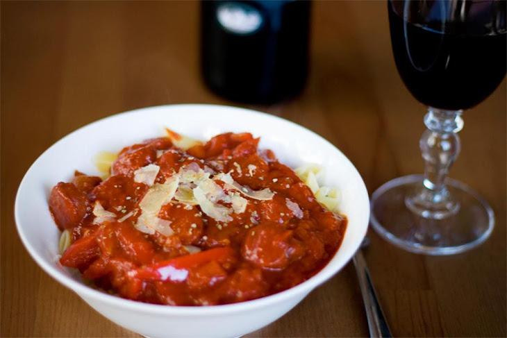 Spanish Pasta With Chorizo and Tomato Sauce