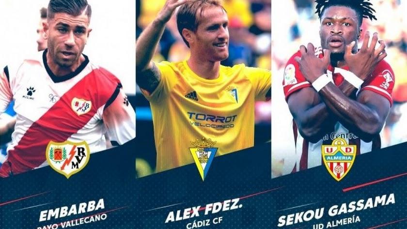 Los tres nominados: Embarba, Álex y Sekou.
