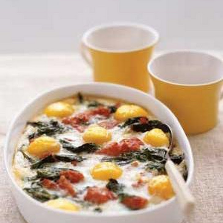 Baked Eggs With Spinach and Tomatoes Recipe | Yummly