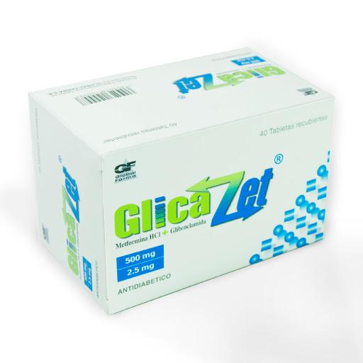 Metformina + Glibenclamida Glicazet 500/2,5mg x 40 Tabletas