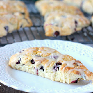 Blueberry Scones with Vanilla Glaze.