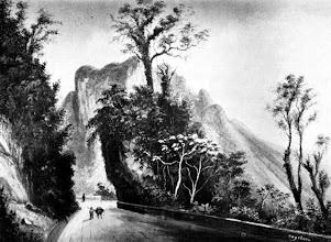 Photo: Estrada Normal da Estrela, aberta por Júlio Frederico Koeler na década de 1840. Atualmente é conhecida como Estrada da Serra Velha. Desenho sem data