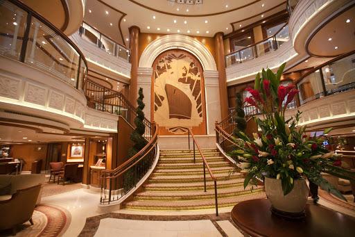 Queen-Elizabeth-Grand-Lobby - An elegant staircase leads to the Grand Lobby of Queen Elizabeth.
