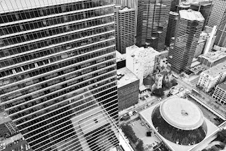 Photo: If this thing were turned back right side-up, I would drink from it.  Are you a Toronto-area photographer? Join the Toronto Liberty Project [http://www.flickr.com/groups/libertyproject/] sponsored by +44 Wide.  Tags: #toronto, #rooftopping, #vertigo, #blackandwhite, #skyline, #urbex, #urbanexploration, #torontolibertyproject