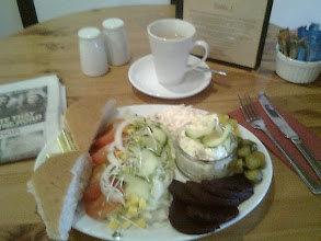 Photo: A salad brunch at Hennys tearoom Horncastle, the ploughman's lunch also very popular, with a selection of cheeses, a lite option after a tiring bike ride.