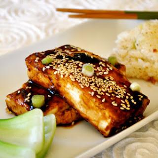 Teriyaki Black Tofu with Sticky Rice Cakes