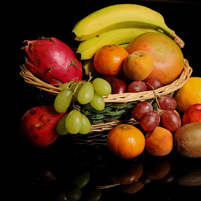 Many fruits by Cristobal Garciaferro Rubio - Food & Drink Fruits & Vegetables ( frutas, banana, orange, grapes, apple peach, fruits, grapefruit )