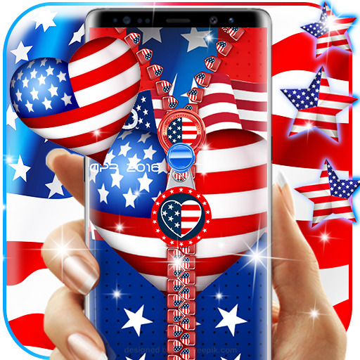 USA flag zipper lock screen