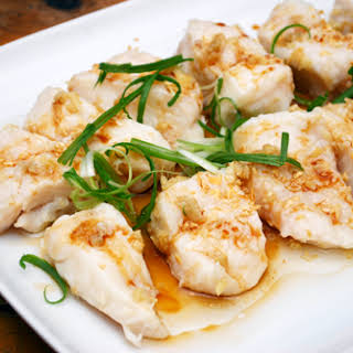 Steamed Halibut Fillets with Garlic Oil.