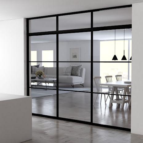 Skjutdörr 3 dörrar + ovanliggare svart