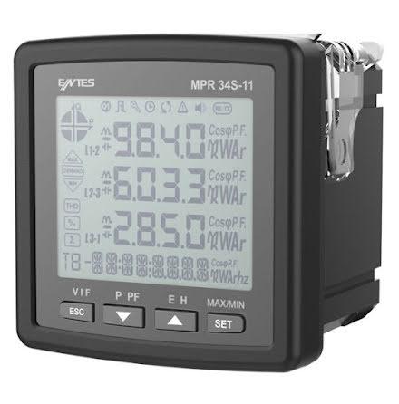 Nätverksanalysator RS-485, 3-fas, LCD, ström-spänning-kWH, 1DI-1DO