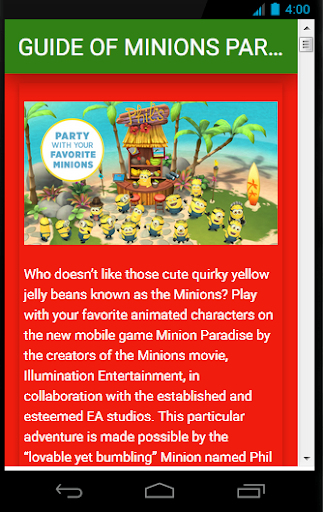 Guide Of Minions Paradise