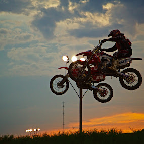 Catching Air by Dave Files - Sports & Fitness Motorsports ( sunset, motorcross, mx )