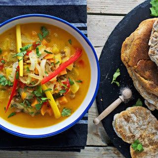 Coconut-Mango Stew With Homemade Naan Bread [Vegan, Gluten-Free]