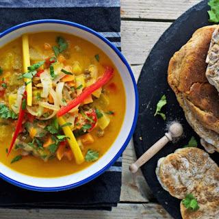 Coconut-Mango Stew With Homemade Naan Bread [Vegan, Gluten-Free].