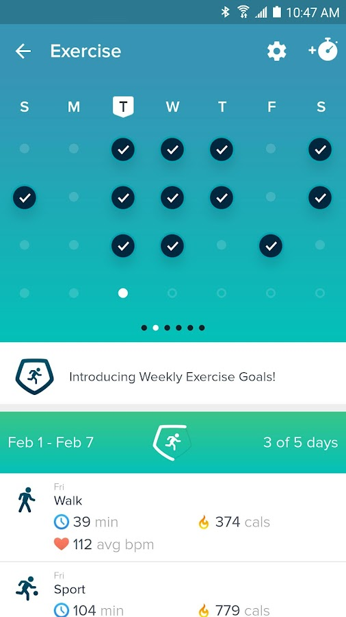 Screenshots of Fitbit for Android