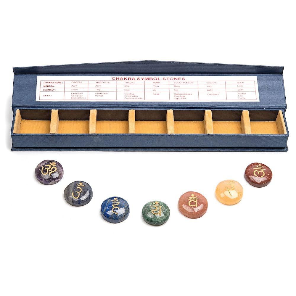 Chakra sanskrit/färgerna runda plattor i ask med fack