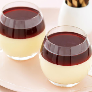 White Chocolate Panna Cotta with Blackcurrant Jelly
