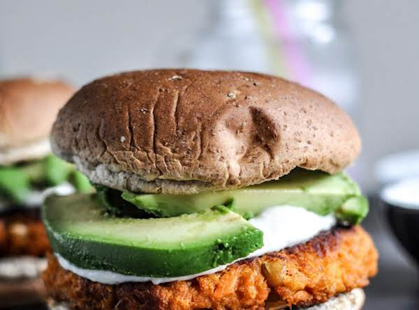 Smoky Sweet Potato Burgers With Roasted Garlic Cre Recipe