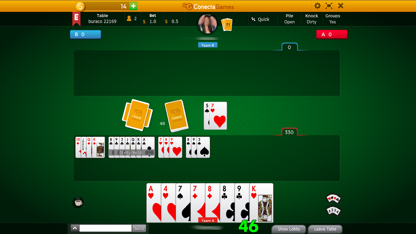 how to play canasta with 3 players