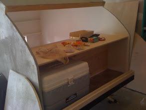 Photo: Mocking up the cabinets